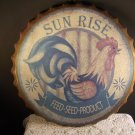 Rooster Tin Sign Sun Rise Feed Seed Country Wall Decor Distressed Finish