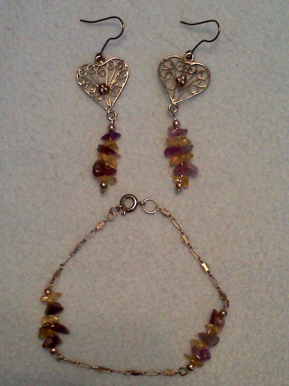 Natural stone earrings & bracelet