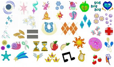 Embroidery Files - 90+ MLP Cutie Marks in 250+ Sizes