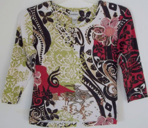 """CHICO'S top shirt MODERN PAISLEY PRINT bust 36"""" size 0"""