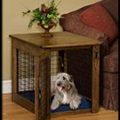 Wood Dog Crate With Wire Sides Medium