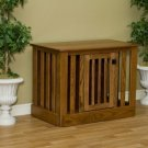 Entertainment Center Dog Crate  Oak