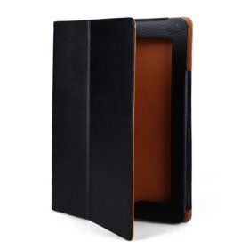 Classic Protective Hard Leather Case and Stand for Apple Ipad 2(Black)