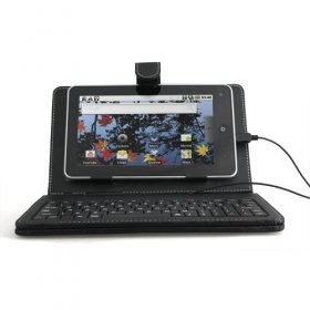 Protective Leather Keyboard Case for 7 inch Tablet PC (MiniUSB Port)