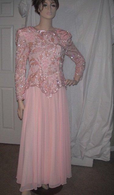 Pink Longsleeve Chiffon Sequin Dress
