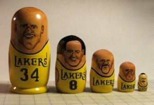 2002-'03 LA Lakers Nesting Doll - Shaq, Kobe, Fisher, Samake, Fox