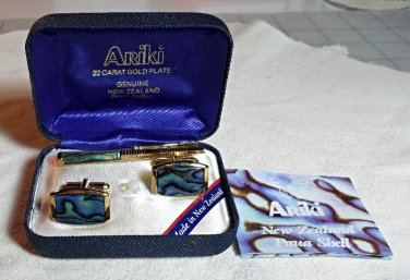 Ariki Paua Shell Cufflinks/Tie Bar combo in 22 ct Gold Plate