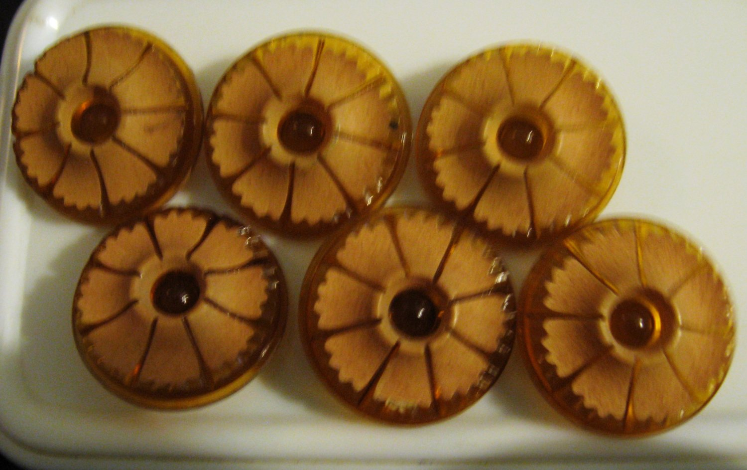 Vintage Plastic orange buttons
