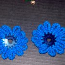 2 Blue Tone Flower Fridge Refridgerator Magnets