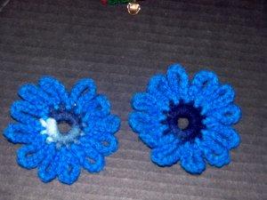 2 Blue Tone Flower Fridge Refridgerator Magnets