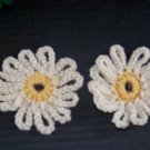 2 Hand Crocheted Cream Off White Flower Fridge Refridgerator Magnet