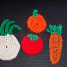 4 Vegetable Fridge Refridgerator Magnets Carrot Onion Pumpkin Tomato
