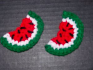 2 Hand Crocheted Watermelon Fridge Refridgerator Magnet