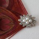 5 Pearl Rhinestone Button -0844