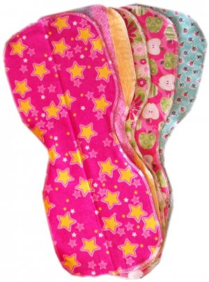 5 *NEW* GIRLY flannel baby BURP CLOTHS - SOFT & CUTE!!
