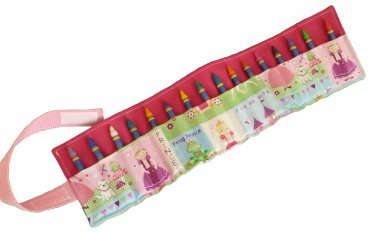 Crayon Roll Up Organizer Holds 16 Crayons, Pink/Princess - Hook & Loop Closure