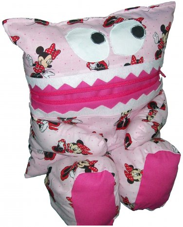 Pajama Eating Pillow Monster, PJ Eater, Pink Minnie Mouse Fabric