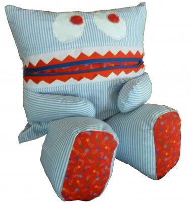 Pajama Eating Pillow Monster, PJ Eater, Blue Stripes/Red Stars