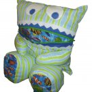 Pajama Eating Pillow Monster, PJ Eater, Blue/Green Stripes & Fish