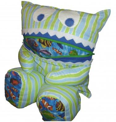 Pajama Eating Pillow Monster, PJ Eater, Blue/Green Stripes & Fish