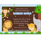 Cute! 10 Printed Baby Shower Jungle Invitations Girl Boy - Pink Blue Any Color Safari Zoo
