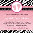 Cute! 10 Printed Baby Shower Jungle Zebra Invitations Girl Boy - Pink Blue Any Color Safari Zoo