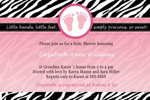 Cute! 10 Printed Baby Shower Jungle Zebra Invitations Girl Boy - Pink Blue Any Color Safari Zoo