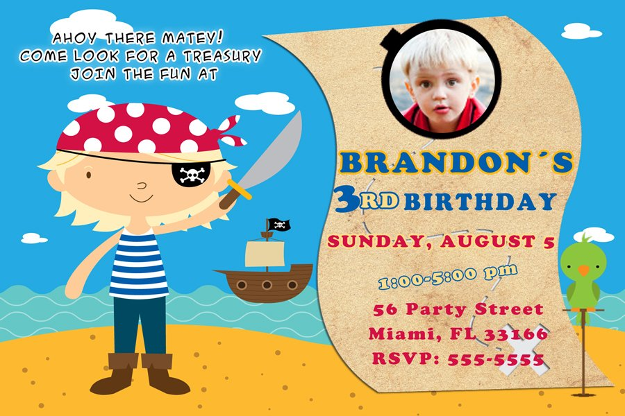 4x6 or 5x7 Pirate  Birthday Party Photo Invitations Boy Baby Beach Boat Print Yourself U