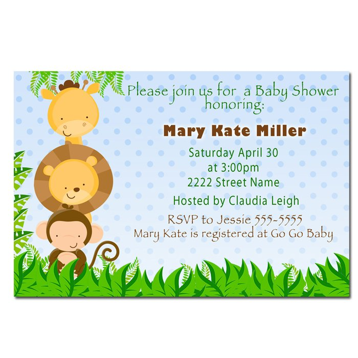 Cute! 10 Printed Baby Shower Jungle Invitations Girl Boy - Pink Blue Any Color Safari Zoo