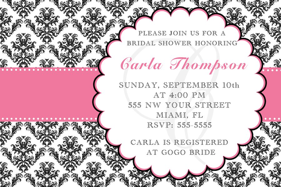 4x6 or 5x7 Bridal or Baby Shower Party Invitations Damask Monogram Print Yourself U