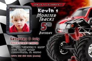 Monster Truck Jam Birthday Party Photo Invitations Children Kids Race Boys