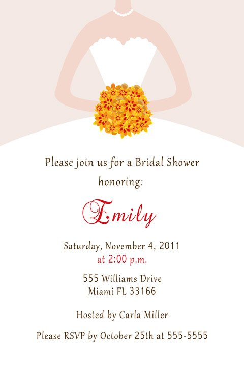 Fall Autumn Flowers Bridal Shower Invitations White Bride Dress - DIY Print Yourself