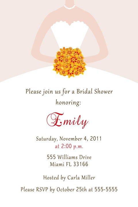 20 Fall Autumn Bridal Shower Invitations White Bride Dress 4x6