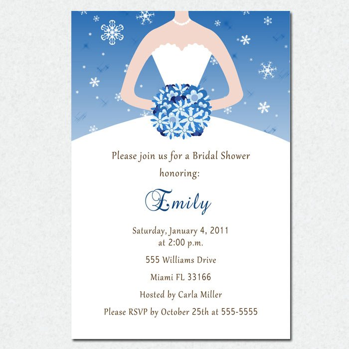 Snowflake Winter Flowers Bridal Shower Invitations White Bride Dress Wedding - DIY Printable