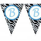 Printable Zebra Flag Banner Birthday Party Baby Bridal Shower Print yourself