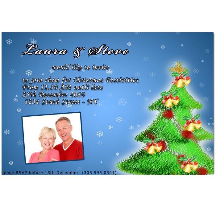 Printable Christmas Holiday Party Photo Invitations Snowflake Ornament