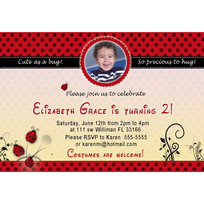10 4x6 Ladybug Birthday Party Photo Invitations Girl Baby 1st 2nd Polka Dots Red Black