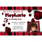 10 4x6 Ladybug Birthday Party Photo Invitations Girl Baby 1st 2nd Polka Dots Red Black