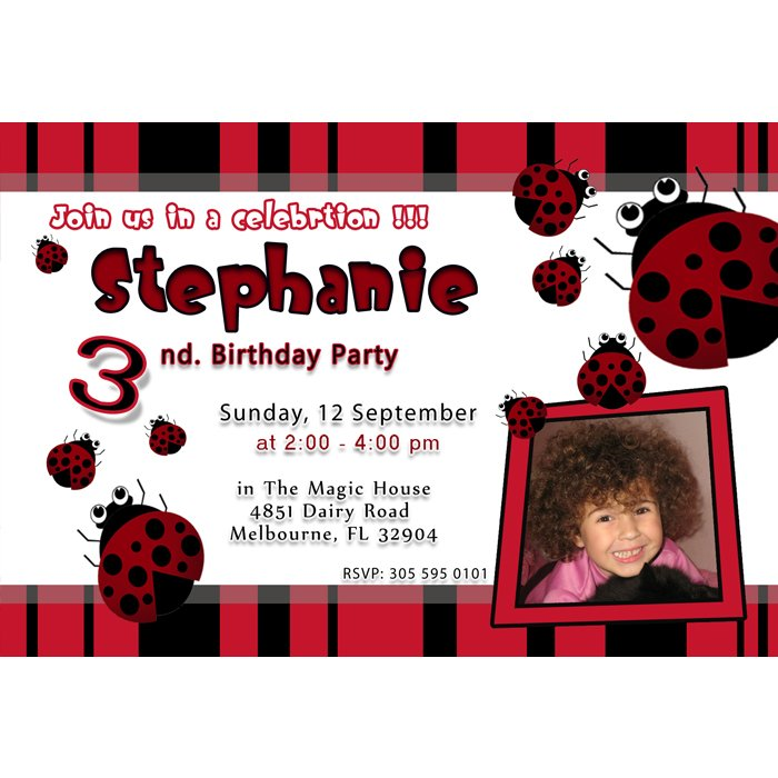 Printable Ladybug Birthday Party Photo Invitations Girl 1st 2nd Lady Bug Polka Dot