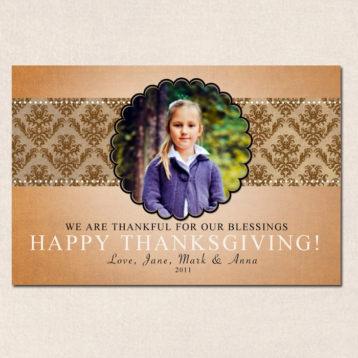 Personalized Fall Autumn Happy Thanksgiving Photo Card - Custom Printable or Printed W Envelopes