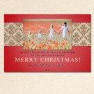 20 Cards & Envelopes 5x7 Custom Holiday Photo  Party - Damask Monogram Christmas Greeting New Year