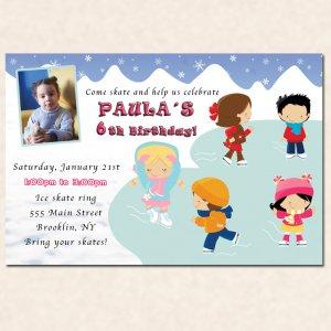 Printable Iceskating Birthday Party Invitations Ice skate snowflake