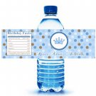 Printable Prince Crown Water Bottle Labels Wrappers Birthday Baby Shower Blue Polka dots boy