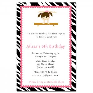 10 Zebra Gymnastic Ballet Birthday Party Invitations Gym Girl Customized