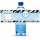 Printable Zebra Feet Water Bottle Labels Wrappers Baby Shower Blue Boy Birthday Party