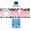 Printable Zebra Feet Water Bottle Labels Wrappers Birthday Baby Shower Pink Polka dots girl
