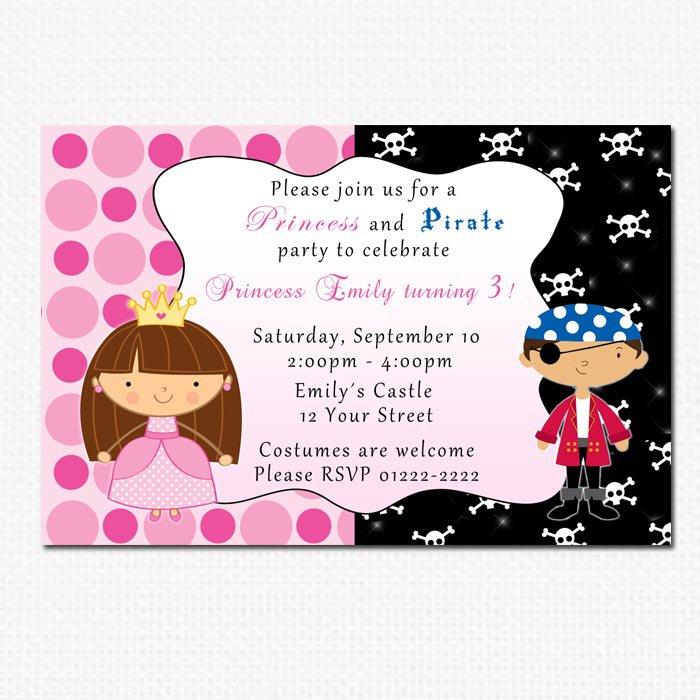 Printable Pirate Fairy Princess Birthday Party Invitations Polka Dots Girl Baby Print Yourself