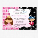 10 Personalised Pirate Princess Birthday Party Invitations Girl Baby 1st 2nd Polka Dot Castle