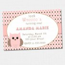 Printable Look Whos Owl Polka Dots Birthday Party Invitations Girl Baby Shower 1st 2nd Pink 4x6 5x7