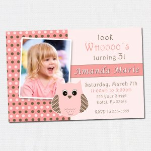 Printable Look Whos Owl Polka Dots Photo Birthday Party Invitations Girl Baby Shower 1st 2nd Pink